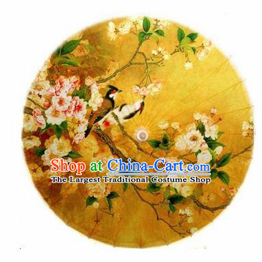 Chinese Handmade Printing Begonia Flowers Birds Yellow Oil Paper Umbrella Traditional Decoration Umbrellas