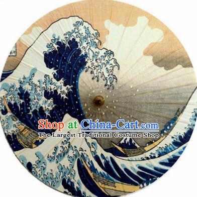 Japanese Handmade Printing Sea Wave Oil Paper Umbrella Traditional Decoration Umbrellas