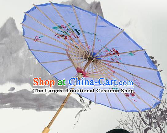 Handmade Chinese Classical Dance Printing Plum Purple Silk Umbrella Traditional Cosplay Decoration Umbrellas