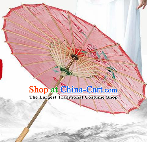 Handmade Chinese Classical Dance Printing Plum Red Silk Umbrella Traditional Cosplay Decoration Umbrellas