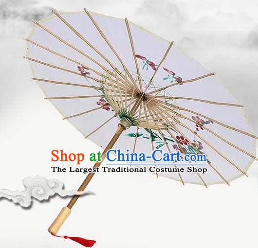 Handmade Chinese Classical Dance Printing Plum White Silk Umbrella Traditional Cosplay Decoration Umbrellas