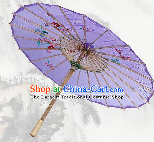 Handmade Chinese Classical Dance Printing Plum Deep Purple Silk Umbrella Traditional Cosplay Decoration Umbrellas