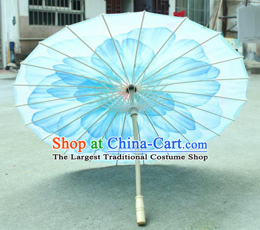 Handmade Chinese Classical Dance Printing Blue Peony Silk Umbrella Traditional Cosplay Decoration Umbrellas