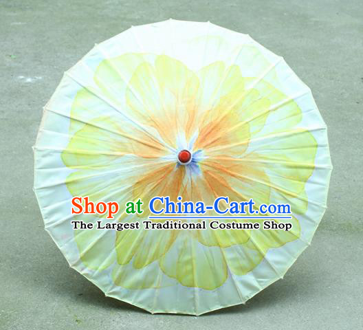 Handmade Chinese Classical Dance Printing Yellow Peony Silk Umbrella Traditional Cosplay Decoration Umbrellas