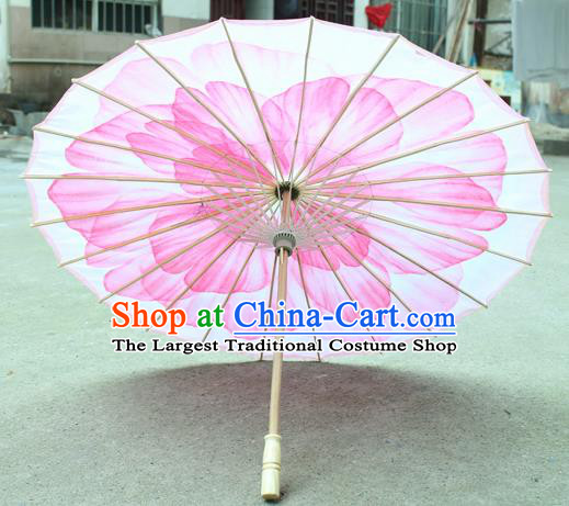 Handmade Chinese Classical Dance Printing Pink Peony Silk Umbrella Traditional Cosplay Decoration Umbrellas