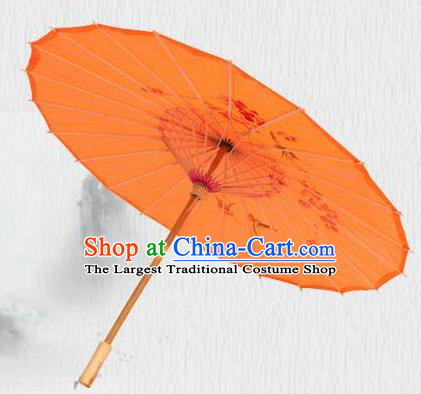 Handmade Chinese Printing Flowers Butterfly Orange Silk Umbrella Traditional Classical Dance Decoration Umbrellas