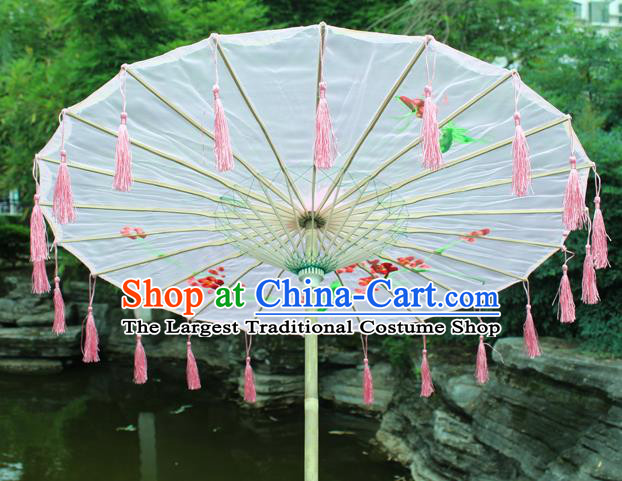 Handmade Chinese Printing Flowers Pink Tassel Silk Umbrella Traditional Classical Dance Decoration Umbrellas