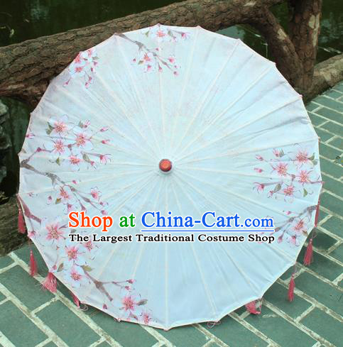 Handmade Chinese Printing Peach Blossom Pink Tassel Silk Umbrella Traditional Classical Dance Decoration Umbrellas
