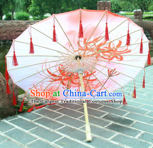 Handmade Chinese Printing Manjusaka Red Tassel Silk Umbrella Traditional Classical Dance Decoration Umbrellas