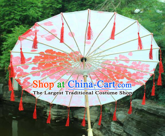 Handmade Chinese Printing Plum Blossom Red Tassel Silk Umbrella Traditional Classical Dance Decoration Umbrellas