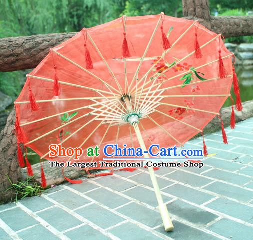 Handmade Chinese Printing Red Tassel Silk Umbrella Traditional Classical Dance Decoration Umbrellas