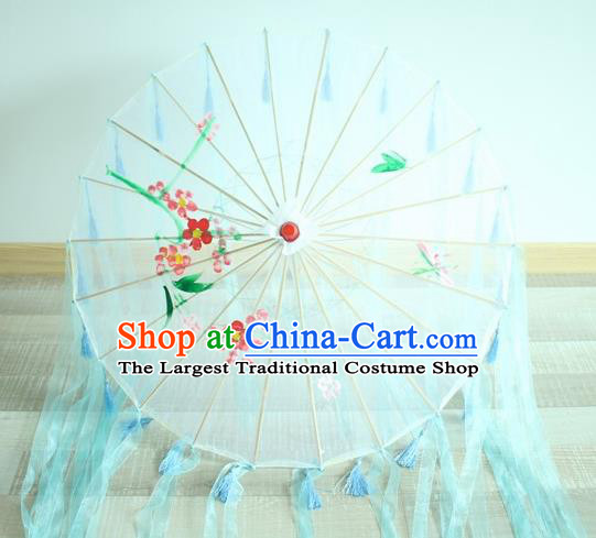 Handmade Chinese Printing Flowers Blue Ribbon Silk Umbrella Traditional Classical Dance Decoration Umbrellas