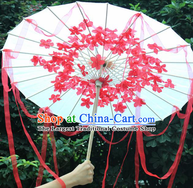 Handmade Chinese Red Flowers Ribbon Silk Umbrella Traditional Classical Dance Decoration Umbrellas