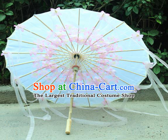 Handmade Chinese Pink Flowers Ribbon Silk Umbrella Traditional Classical Dance Decoration Umbrellas