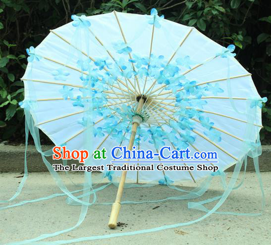 Handmade Chinese Blue Flowers Ribbon Silk Umbrella Traditional Classical Dance Decoration Umbrellas