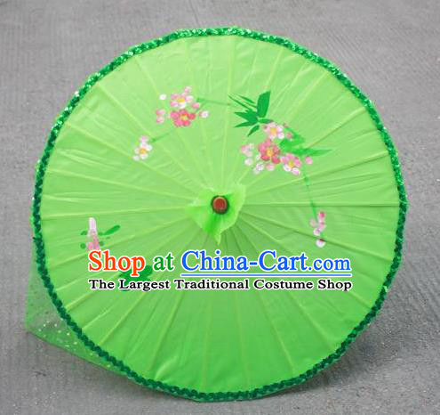 Handmade Chinese Green Veil Silk Umbrella Traditional Classical Dance Decoration Umbrellas