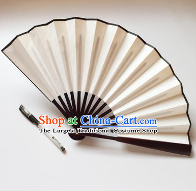 Chinese Handmade White Silk Fans Accordion Fan Traditional Decoration Folding Fan