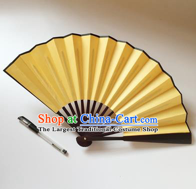 Chinese Handmade Yellow Silk Fans Accordion Fan Traditional Decoration Folding Fan