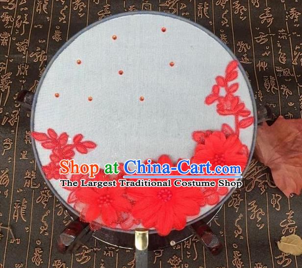 Handmade Chinese Classical Hanfu Red Flowers Silk Round Fan Traditional Palace Fans