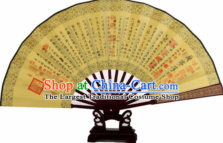 Chinese Handmade Painting Calligraphy Lan Ting Preface Yellow Fans Accordion Fan Traditional Decoration Folding Fan