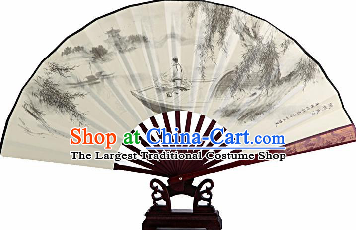 Chinese Handmade Painting Boat White Fans Accordion Fan Traditional Decoration Folding Fan