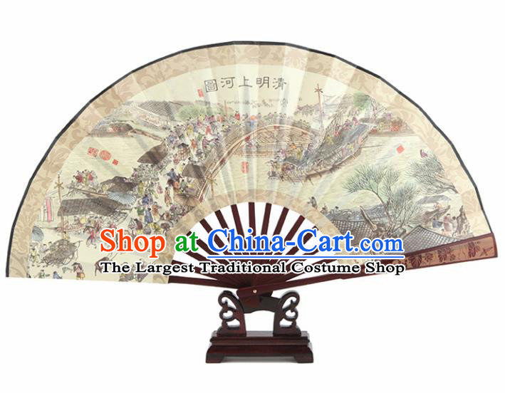 Chinese Handmade Painting Riverside Scene at Qingming Festival Fans Accordion Fan Traditional Decoration Folding Fan