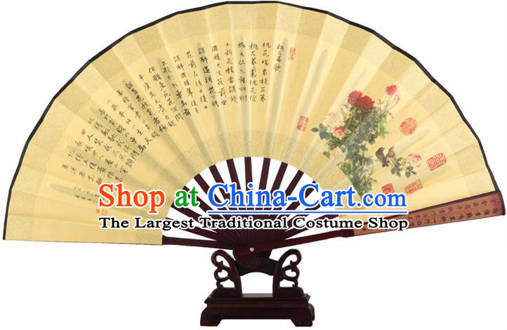 Chinese Handmade Painting Peony Yellow Fans Accordion Fan Traditional Decoration Folding Fan