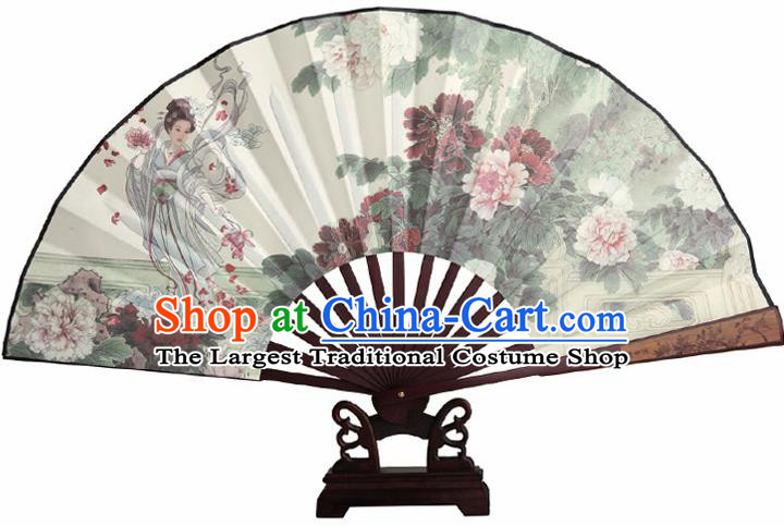 Chinese Handmade Painting Peony Goddess Fans Accordion Fan Traditional Decoration Folding Fan