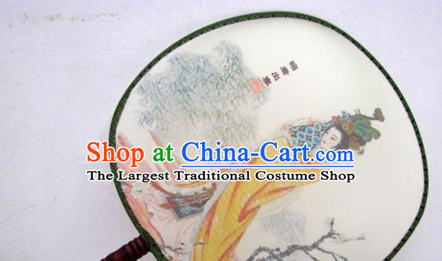 Handmade Chinese Classical Painting Lady Zhaojun Silk Round Fan Traditional Hanfu Palace Fans