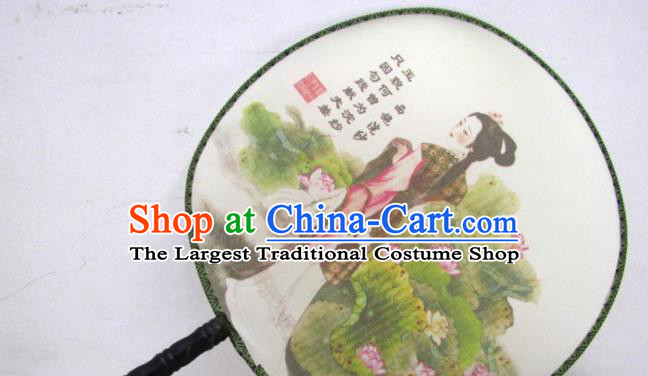 Handmade Chinese Classical Painting Lady Xi Shi Silk Round Fan Traditional Hanfu Palace Fans