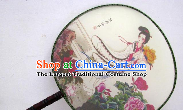 Handmade Chinese Classical Painting Peony Fairy Silk Round Fan Traditional Hanfu Palace Fans