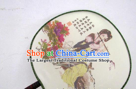 Handmade Chinese Classical Painting Silk Round Fan Traditional Hanfu Palace Fans