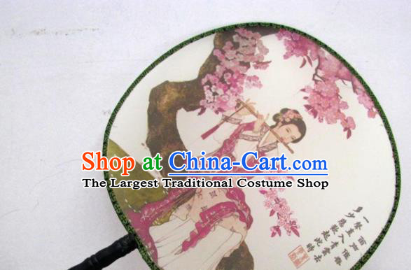 Handmade Chinese Classical Painting Lady Silk Round Fan Traditional Hanfu Palace Fans