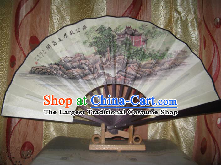 Chinese Handmade Painting WenChang Tower Fans Accordion Fan Traditional Decoration Folding Fan