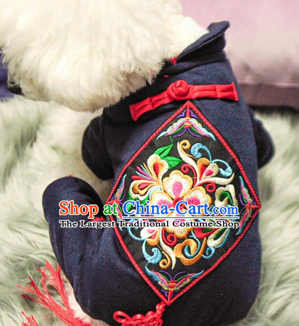 Traditional Asian Chinese Embroidered Winter Dog Costumes for New Year