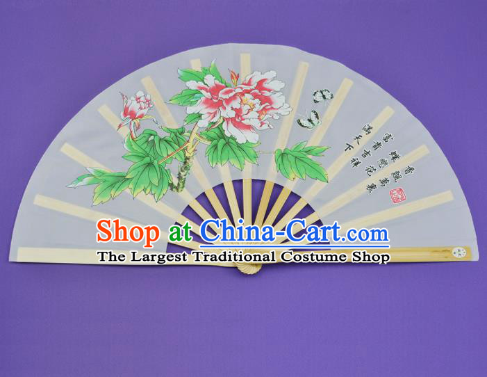 Chinese Handmade Printing Peony White Kung Fu Fans Accordion Fan Traditional Decoration Folding Fan