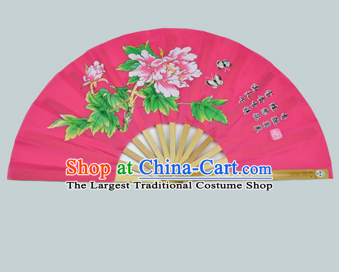 Chinese Handmade Printing Peony Rosy Kung Fu Fans Accordion Fan Traditional Decoration Folding Fan