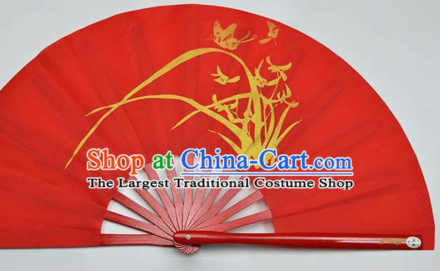 Chinese Handmade Printing Orchid Red Kung Fu Fans Accordion Fan Traditional Decoration Folding Fan