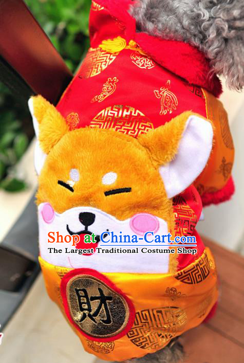 Traditional Asian Chinese Pets Clothing Dog Winter Yellow Costumes for New Year