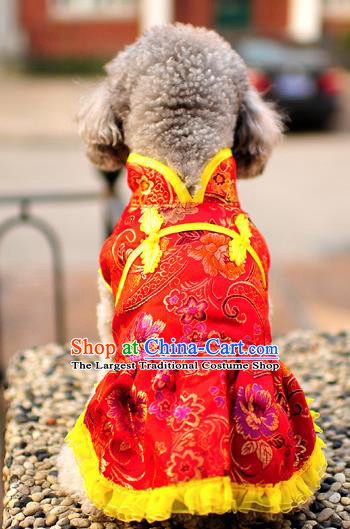 Traditional Asian Chinese Pets Clothing Dog Winter Red Brocade Dress Costumes for New Year