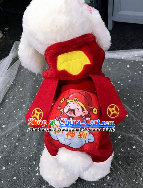 Traditional Asian Chinese Pets Winter Clothing Dog God of Wealth Red Costumes for New Year