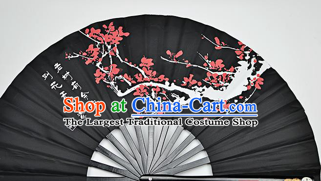 Chinese Handmade Printing Plum Blossom Black Kung Fu Fans Accordion Fan Traditional Decoration Folding Fan