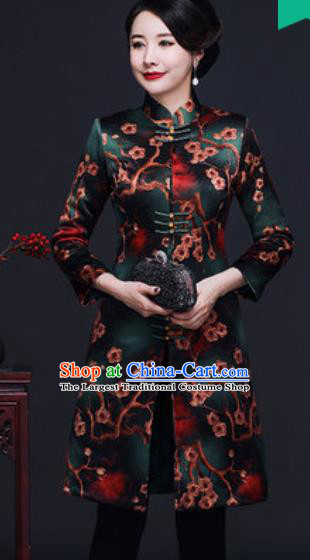 Traditional Chinese Green Silk Cheongsam Coat Mother Tang Suit Stand Collar Overcoat for Women