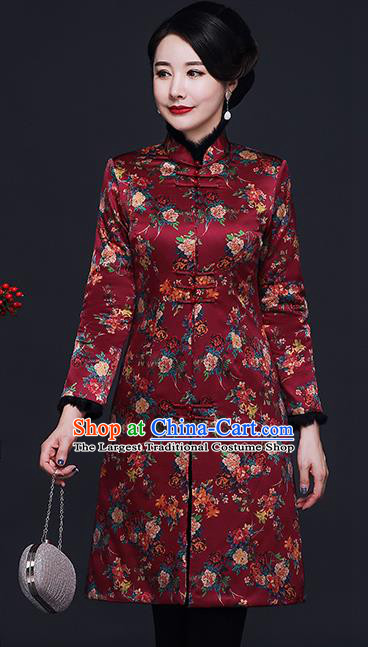 Traditional Chinese Purplish Red Silk Cheongsam Cotton Padded Coat Mother Tang Suit Stand Collar Overcoat for Women