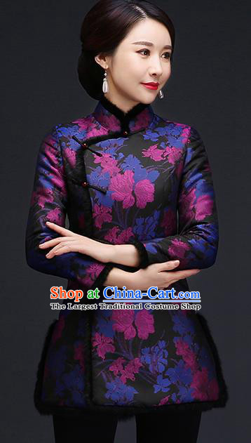 Traditional Chinese Blue Silk Cheongsam Cotton Padded Jacket Mother Tang Suit Stand Collar Overcoat for Women