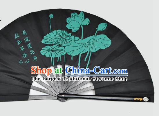 Chinese Handmade Printing Lotus Black Kung Fu Fans Accordion Fan Traditional Decoration Folding Fan