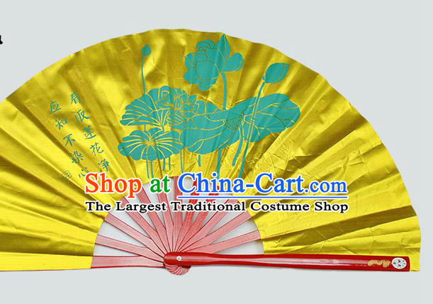 Chinese Handmade Printing Lotus Yellow Kung Fu Fans Accordion Fan Traditional Decoration Folding Fan