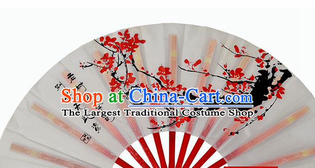 Chinese Handmade Printing Plum Blossom White Kung Fu Fans Accordion Fan Traditional Decoration Folding Fan