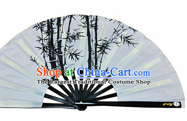 Chinese Handmade Printing Bamboo White Kung Fu Fans Accordion Fan Traditional Decoration Folding Fan
