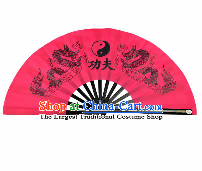 Chinese Handmade Printing Dragon Martial Arts Pink Fans Accordion Fan Traditional Kung Fu Folding Fan
